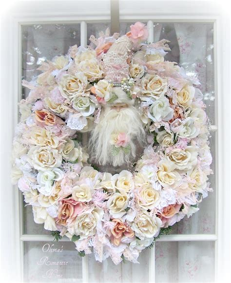 shabby chic image olivia s romantic home shabby chic white christmas santa wreath