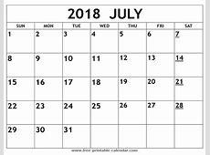 Printable 2018 July Calendar