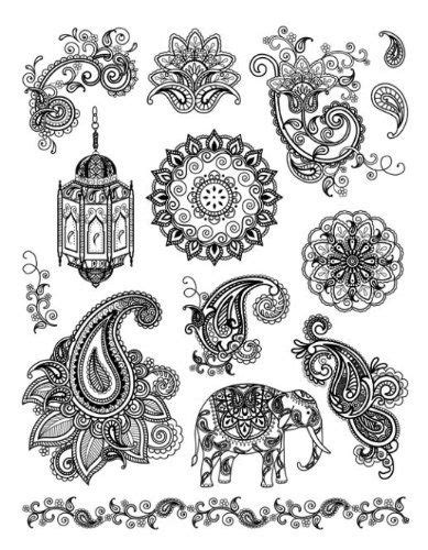 Amazon.com: Viva Décor 400301600 India Clear Silicone Stamp: Arts, Crafts & Sewing | Henna