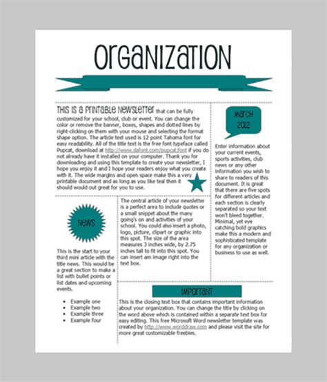 Newsletter Templates Free by Word Newsletter Template 31 Free Printable Microsoft