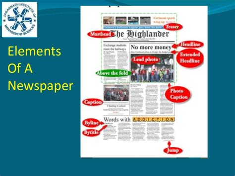 Elements of newspaper