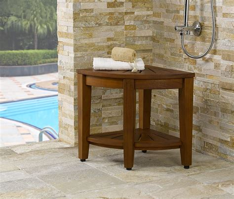 Small Bathroom Bench by Brown Wooden Bathroom Bench Seat In A Small And Modern