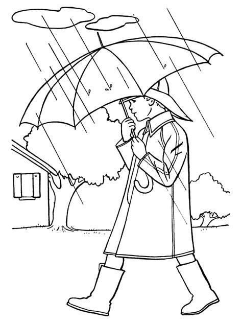 coloring page  boy  walking   rain