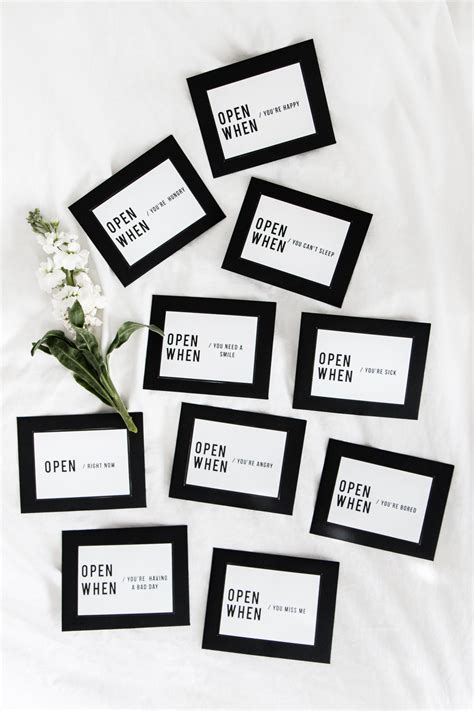 """Think about the last time you received a handwritten letter, or the last time your partner hid little love notes, open when cards, or quotes around your house before they left at the end of a. Free Printable """"Open When"""" Envelope Labels"""