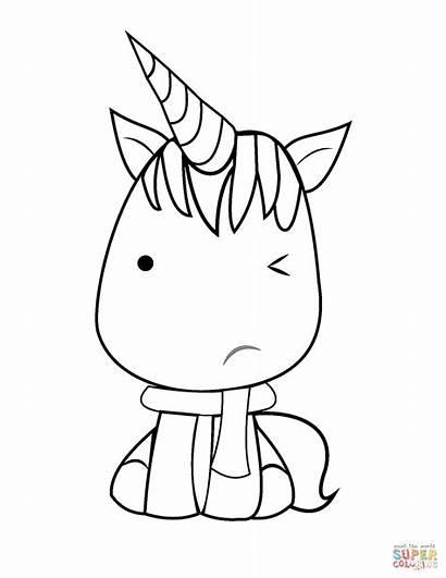 Unicorn Coloring Kawaii Pages Printable Drawing Colouring