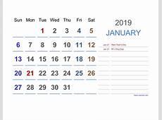 2019 Excel Calendar Free Download Excel Calendar Templates