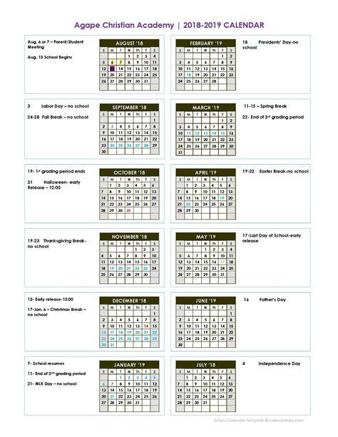 calendar agape christian academy