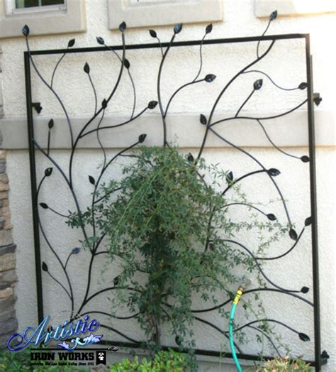 Metal Garden Trellis With Tree Of Design wrought iron trellises contemporary home fencing and