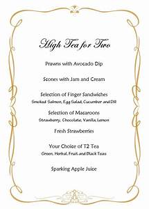 tomorrow39s high tea menu for two e a t d r i n k pinterest With afternoon tea menu template