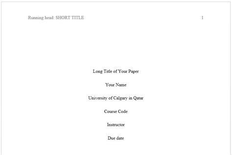 Apa Format Title Page Apa Formatting Of Calgary In Qatar