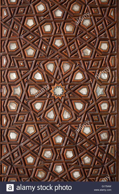islamic pattern wooden engraving stock photo royalty