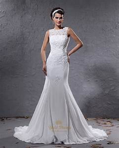 ivory mermaid illusion neckline wedding dresses with lace With ivory mermaid wedding dress