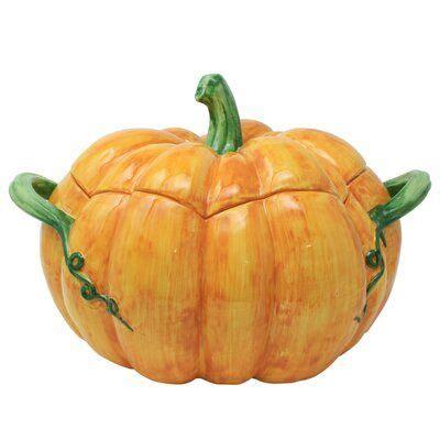 vietri pumpkins figural  qt tureen   vietri pumpkin tureen