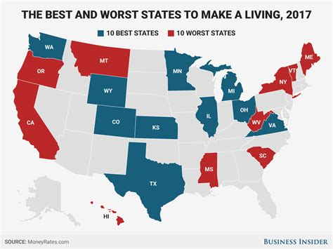 Best, Worst States To Make A Living In 2017  Business Insider