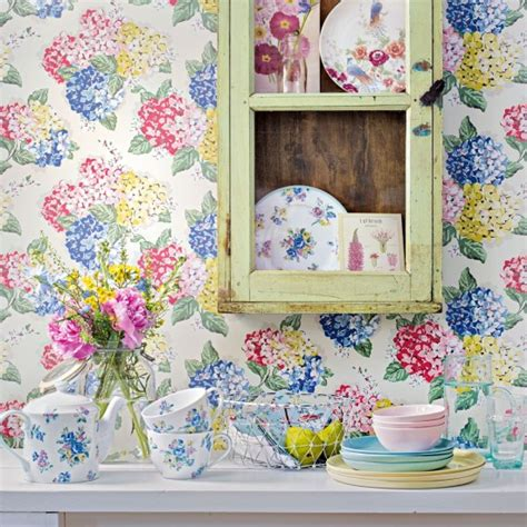 shabby chic kitchen wallpaper shabby chic kitchen with distressed cabinet and floral