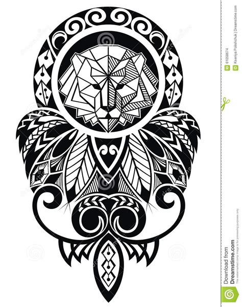 tattoo design  lion stock vector illustration