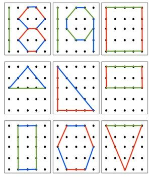 geoboard numbers   shapes  stepan  kindergarten