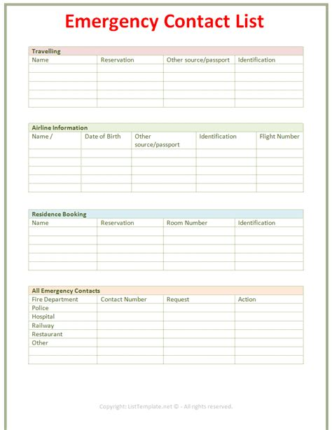 emergency contact template emergency contact list template light design