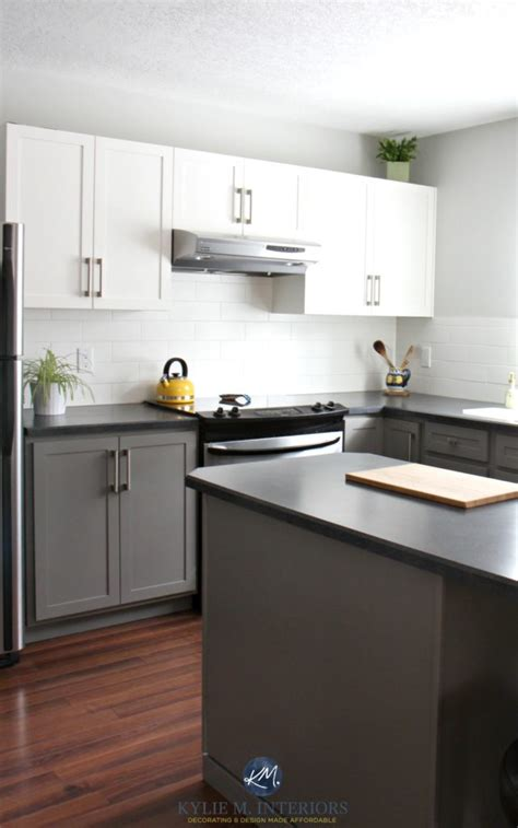 gray owl kitchen cabinets painted kitchen cabinets with white and benjamin moore 235 | Painted kitchen cabinets with white and Benjamin Moore Chelsea Gray Gray Owl subway tile red toned wood flooring and black laminate countertops. Kylie M Interiors E design 1 641x1024