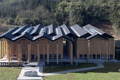 striking zig zag roof tops modern community space  rural