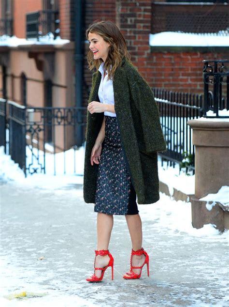 keri russell strolls brooklyn  unseasonal stilettos