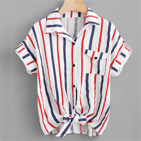 womens stripe blouse ladies polyester colorful