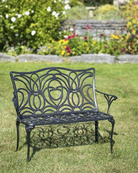 tulip bench aluminum garden bench black metal outdoor