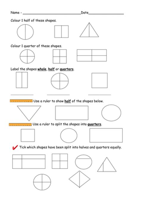 find half and quarters of shapes worksheets by