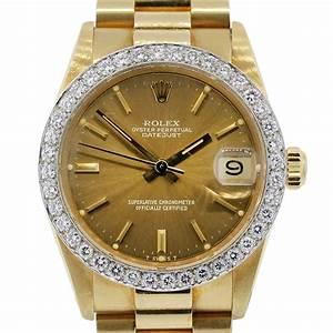 Rolex 6827 Datejust 18k Yellow Gold Presidential Diamond Watch