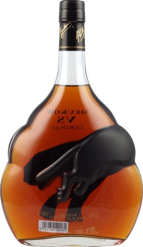meukow cognac aus frankreich in der flasche mit schwarzem panther