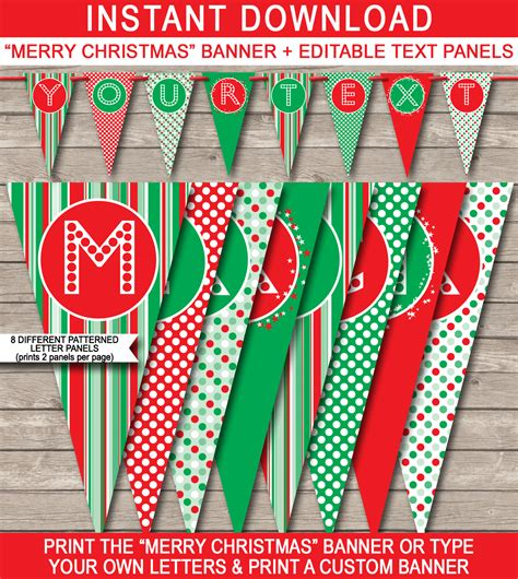 merry template banner template merry banner editable bunting