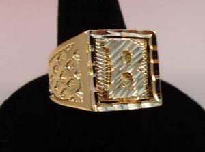 mens 14kt gold ep bling letter b initial hip hop squared With mens gold ring with letter
