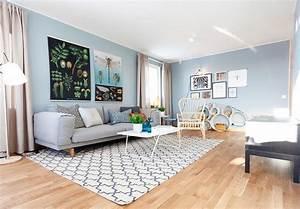 Decoration Mur Interieur Salon : d co salon un int rieur scandinave bleu gris id e mur bleu gris ~ Teatrodelosmanantiales.com Idées de Décoration