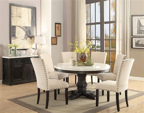 white marble top black  dining table set  pcs acme