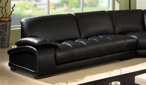 black bonded leather modern sectional sofa wwooden legs