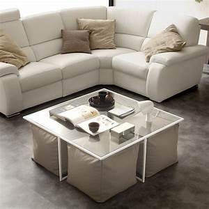 Table Basse Cuir : table basse de salon en verre lula fournie avec 4 poufs en cuir cologique ~ Teatrodelosmanantiales.com Idées de Décoration