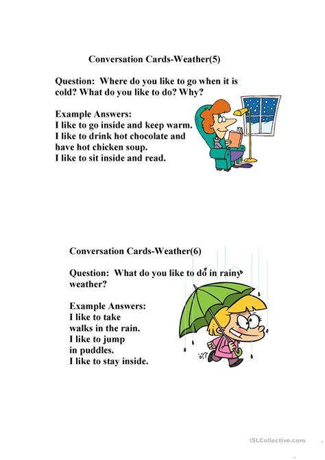 conversation weather worksheet  esl printable