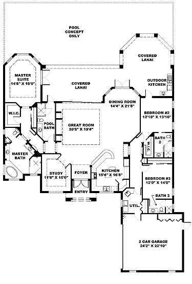 One Story House Plans With Large Kitchens by Ranch Kitchen In Front Front Kitchen Mediterranean Home