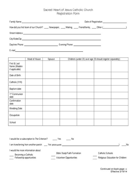 church registration form   templates   word