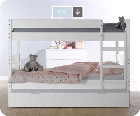 chambre en gris et blanc lit superposé enfant 1 2 3 coloris blanc avec sommier gigogne