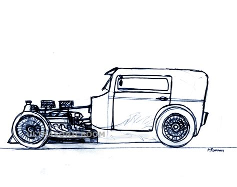 Pencil And In Color Drawn Car Hot Rod