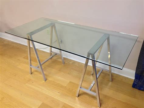 glass desk for sale glass top aluminum saw horse leg table or desk for sale at