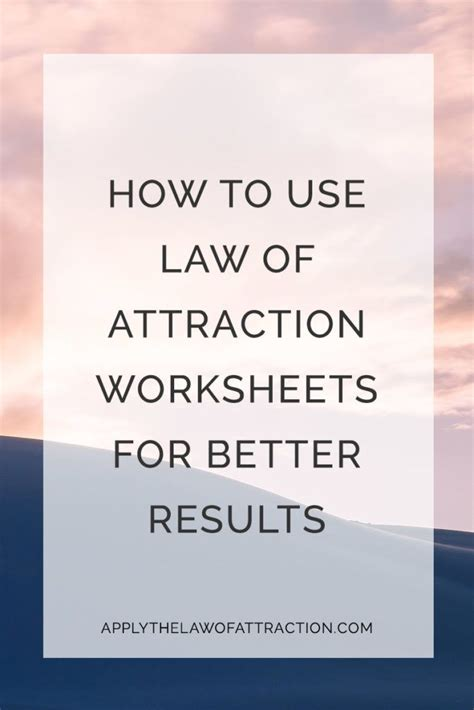 law  attraction worksheets  improve