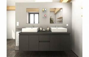 Store Salle De Bain : meuble salle de bain gris mat 4 portes 2 tiroirs 2 vasques ~ Edinachiropracticcenter.com Idées de Décoration