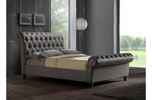 Velvet Super King Headboard by Castello Luxury Upholstered Buttoned Grey Sleigh Bed 6ft