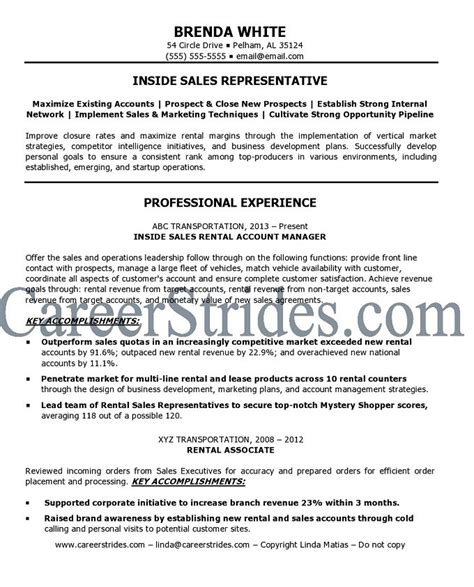 resume of inside sales representative inside sales resume sle exle
