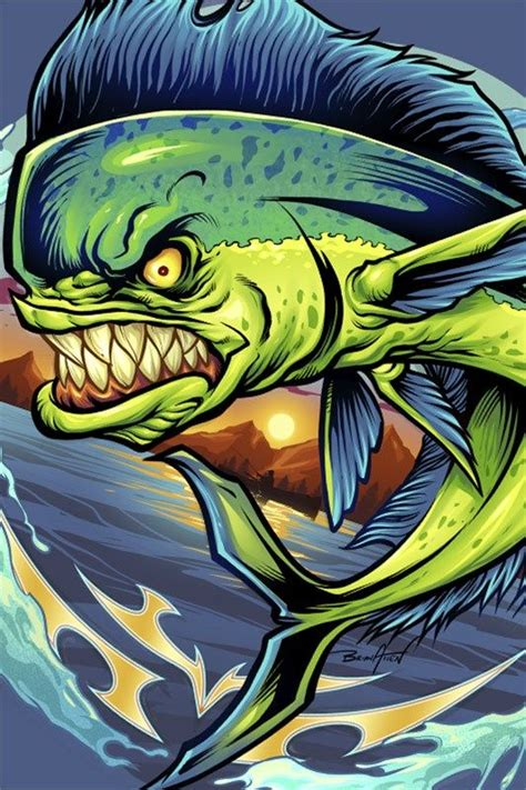 angry mahi mahi fish  shirt design illustration