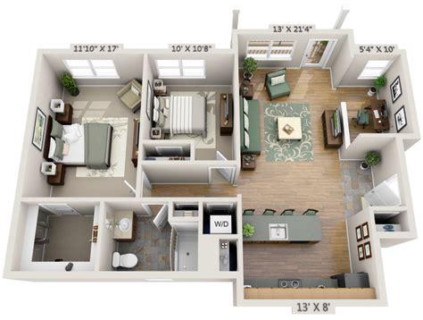 One Bedroom   Study 3D Floor Plan   Net Zero Village