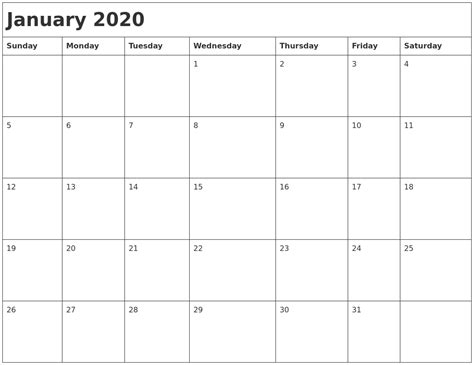 january month calendar