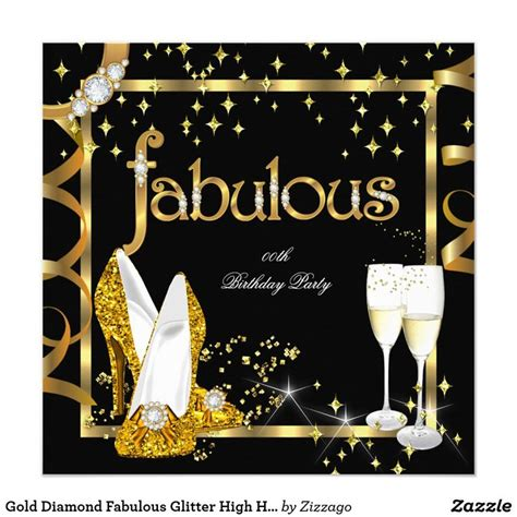 gold diamond fabulous glitter high heels party invitation